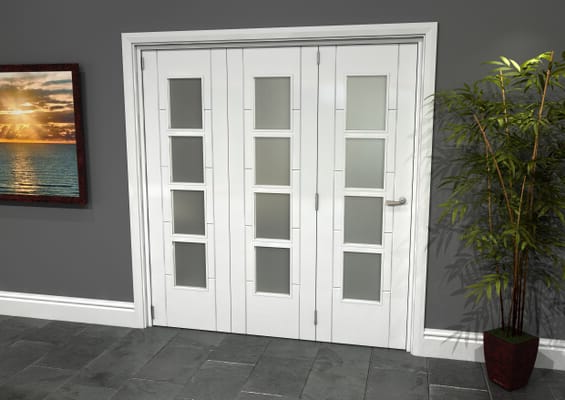 Iseo White 4 Light Frosted 3 Door Roomfold Grande (3 + 0 x 610mm Doors)