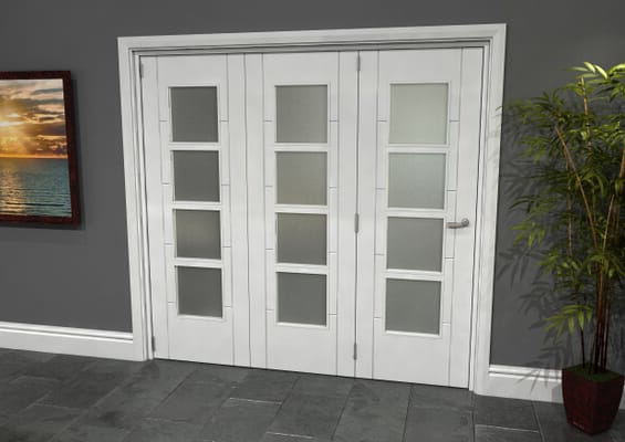 Iseo White 4 Light Frosted 3 Door Roomfold Grande (3 + 0 x 686mm Doors)