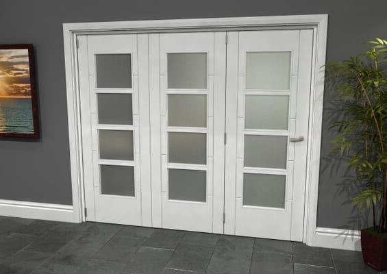 Iseo White 4 Light Frosted 3 Door Roomfold Grande (3 + 0 x 762mm Doors)