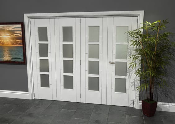 Iseo White 4 Light Frosted 4 Door Roomfold Grande (3 + 1 x 610mm Doors)