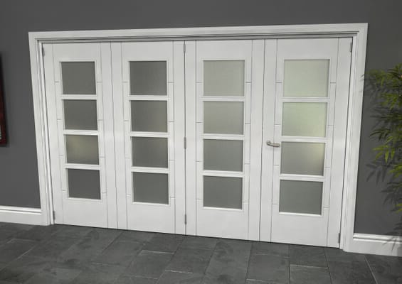 Iseo White 4 Light Frosted 4 Door Roomfold Grande (3 + 1 x 762mm Doors)