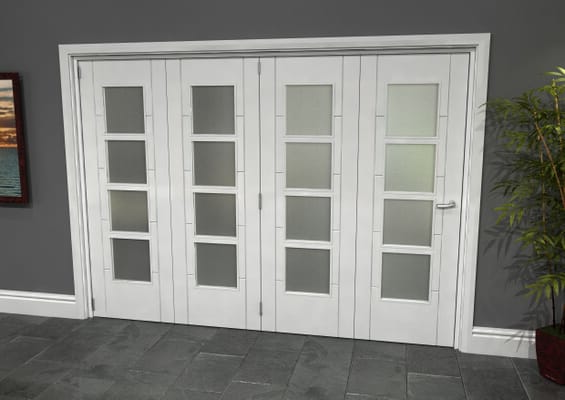 Iseo White 4 Light Frosted 4 Door Roomfold Grande (4 + 0 x 686mm Doors)