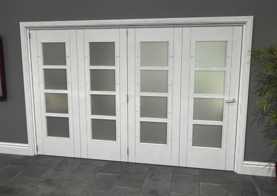 Iseo White 4 Light Frosted 4 Door Roomfold Grande (4 + 0 x 762mm Doors)