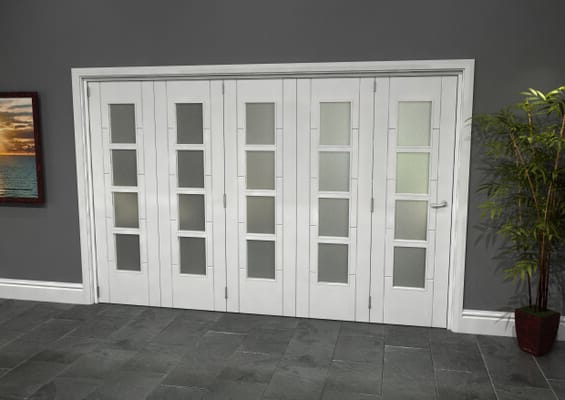Iseo White 4 Light Frosted 5 Door Roomfold Grande (5 + 0 x 610mm Doors)