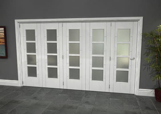 Iseo White 4 Light Frosted 5 Door Roomfold Grande (5 + 0 x 686mm Doors)