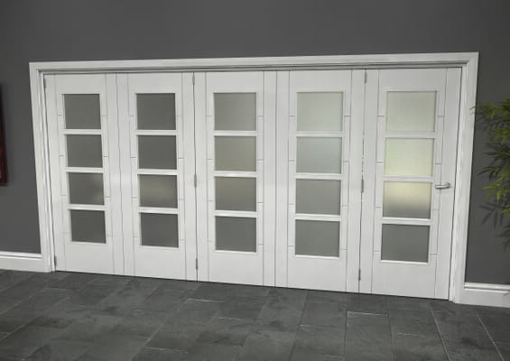 Iseo White 4 Light Frosted 5 Door Roomfold Grande (5 + 0 x 762mm Doors)