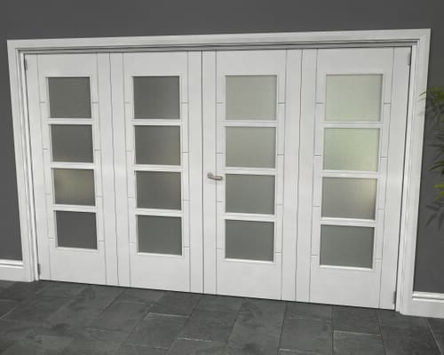 White Iseo Roomfold Grande - 4 Light Frosted