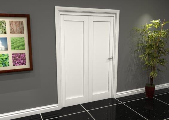 White Shaker 1 Panel 2 Door Roomfold Grande (2 + 0 x 686mm Doors)