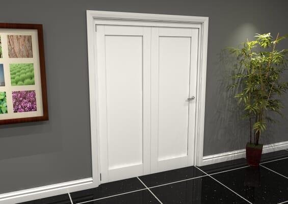 White Shaker 1 Panel 2 Door Roomfold Grande (2 + 0 x 762mm Doors)