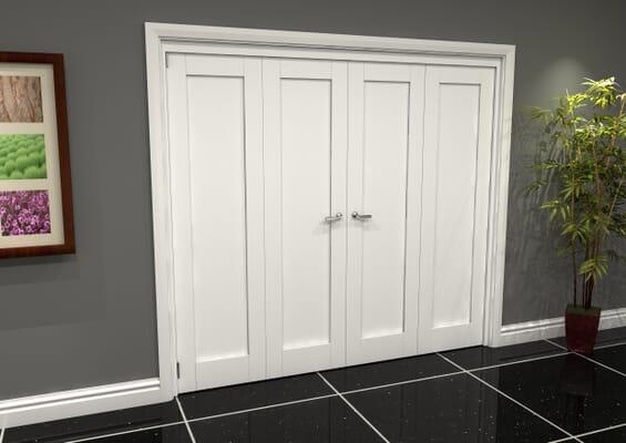 White Shaker 1 Panel 4 Door Roomfold Grande (2 + 2 x 610mm Doors)