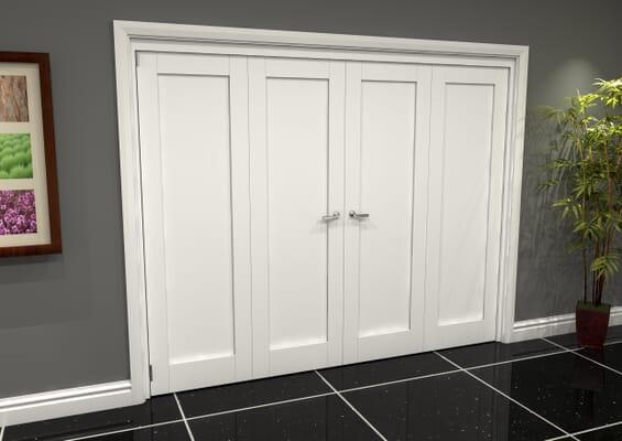White Shaker 1 Panel 4 Door Roomfold Grande (2 + 2 x 686mm Doors)