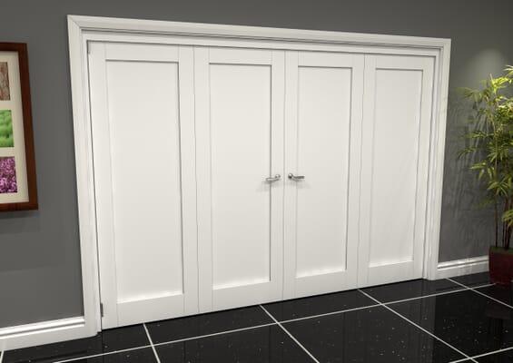 White Shaker 1 Panel 4 Door Roomfold Grande (2 + 2 x 762mm Doors)