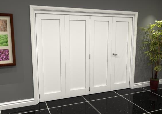 White Shaker 1 Panel 4 Door Roomfold Grande (3 + 1 x 686mm Doors)