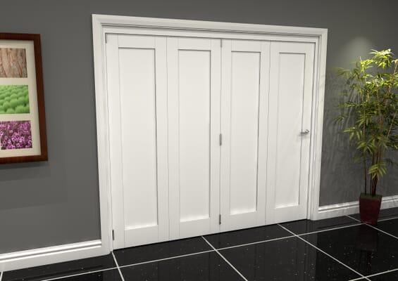 White Shaker 1 Panel 4 Door Roomfold Grande (4 + 0 x 610mm Doors)