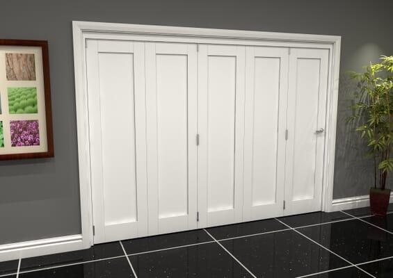 White Shaker 1 Panel 5 Door Roomfold Grande (5 + 0 x 610mm Doors)
