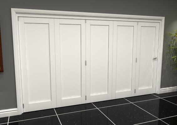 White Shaker 1 Panel 5 Door Roomfold Grande (5 + 0 x 762mm Doors)