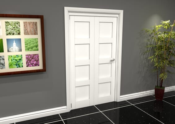 White Shaker 4 Panel 2 Door Roomfold Grande (2 + 0 x 610mm Doors)