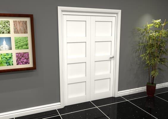 White Shaker 4 Panel 2 Door Roomfold Grande (2 + 0 x 686mm Doors)