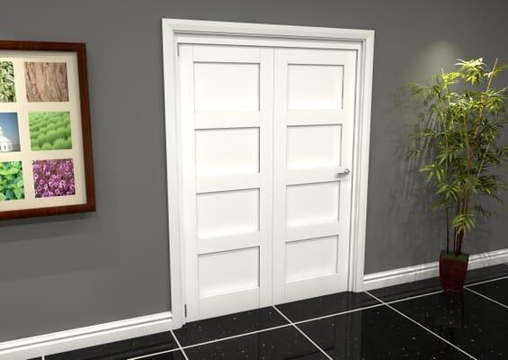 White Shaker 4 Panel 2 Door Roomfold Grande (2 + 0 x 762mm Doors)