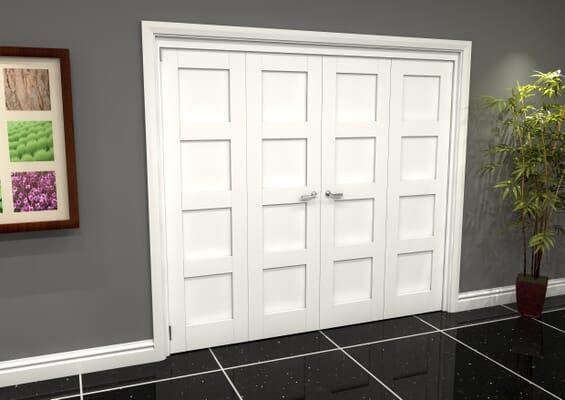 White Shaker 4 Panel 4 Door Roomfold Grande (2 + 2 x 610mm Doors)