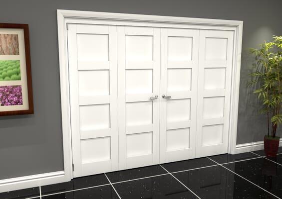 White Shaker 4 Panel 4 Door Roomfold Grande (2 + 2 x 686mm Doors)