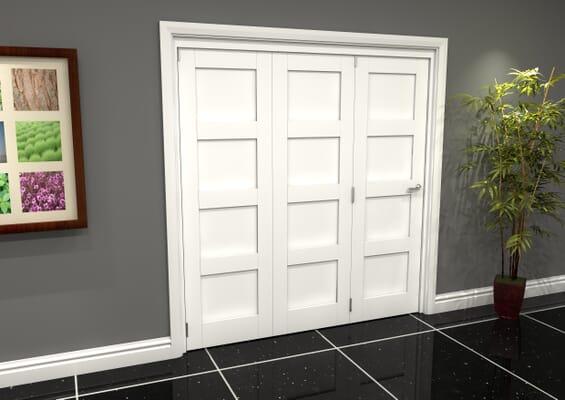 White Shaker 4 Panel 3 Door Roomfold Grande (3 + 0 x 610mm Doors)