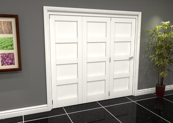 White Shaker 4 Panel 3 Door Roomfold Grande (3 + 0 x 686mm Doors)