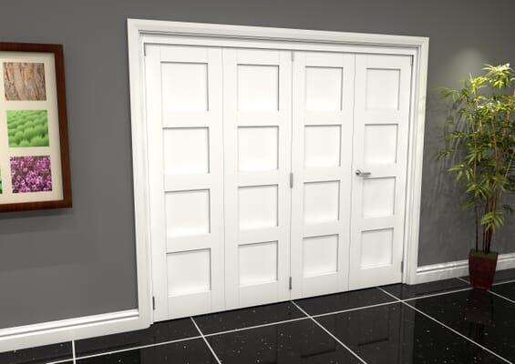 White Shaker 4 Panel 4 Door Roomfold Grande (3 + 1 x 610mm Doors)