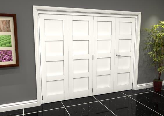 White Shaker 4 Panel 4 Door Roomfold Grande (3 + 1 x 686mm Doors)