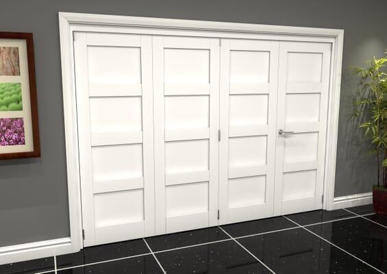 White Shaker 4 Panel 4 Door Roomfold Grande (3 + 1 x 762mm Doors)