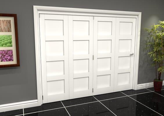 White Shaker 4 Panel 4 Door Roomfold Grande (4 + 0 x 686mm Doors)