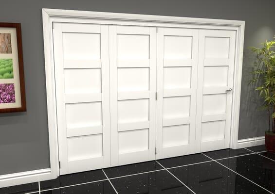 White Shaker 4 Panel 4 Door Roomfold Grande (4 + 0 x 762mm Doors)