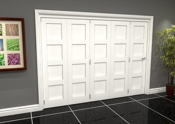 White Shaker 4 Panel 5 Door Roomfold Grande (5 + 0 x 610mm Doors)