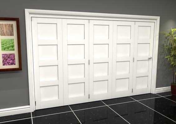 White Shaker 4 Panel 5 Door Roomfold Grande (5 + 0 x 686mm Doors)