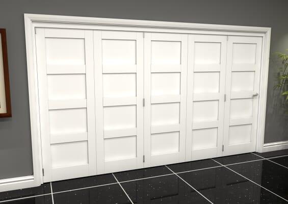 White Shaker 4 Panel 5 Door Roomfold Grande (5 + 0 x 762mm Doors)