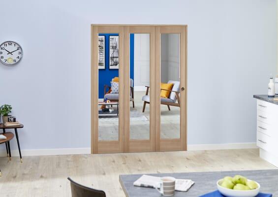 Slimline Glazed Oak Prefinished 3 Door Roomfold (3 x 419mm Doors)