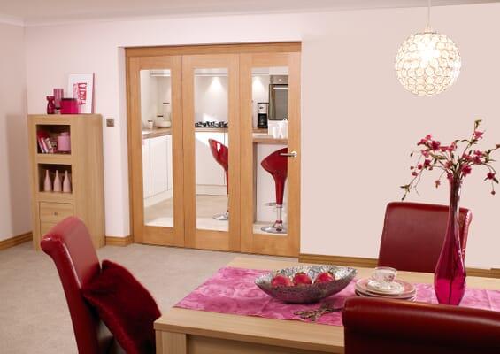Glazed Oak Prefinished 3 Door Roomfold (3 x 2'3