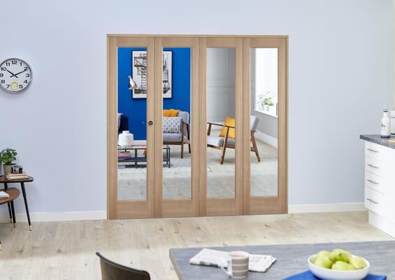 Slimline Glazed Oak Prefinished 4 Door Roomfold (4 x 15