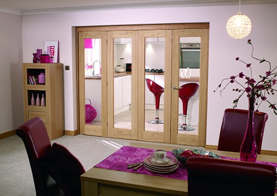 Slimline Glazed Oak Prefinished 4 Door Roomfold (4 x 18