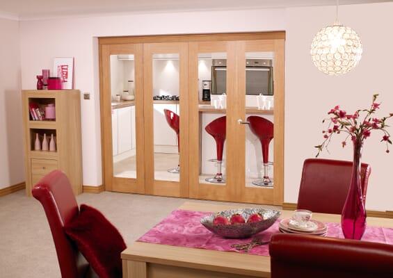Glazed Oak Prefinished 4 Door Roomfold 2400mm Set