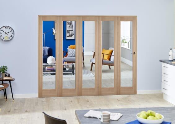 Slimline Glazed Oak Prefinished 5 Door Roomfold (5 x 419mm Doors)