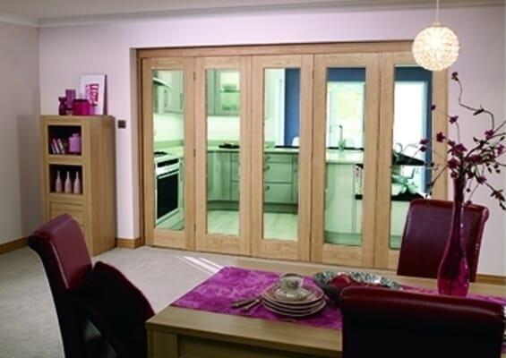 Slimline Glazed Oak Prefinished 5 Door Roomfold (5 x 18