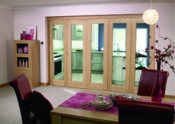 Glazed Oak Prefinished 5 Door Roomfold (5 x 2'0