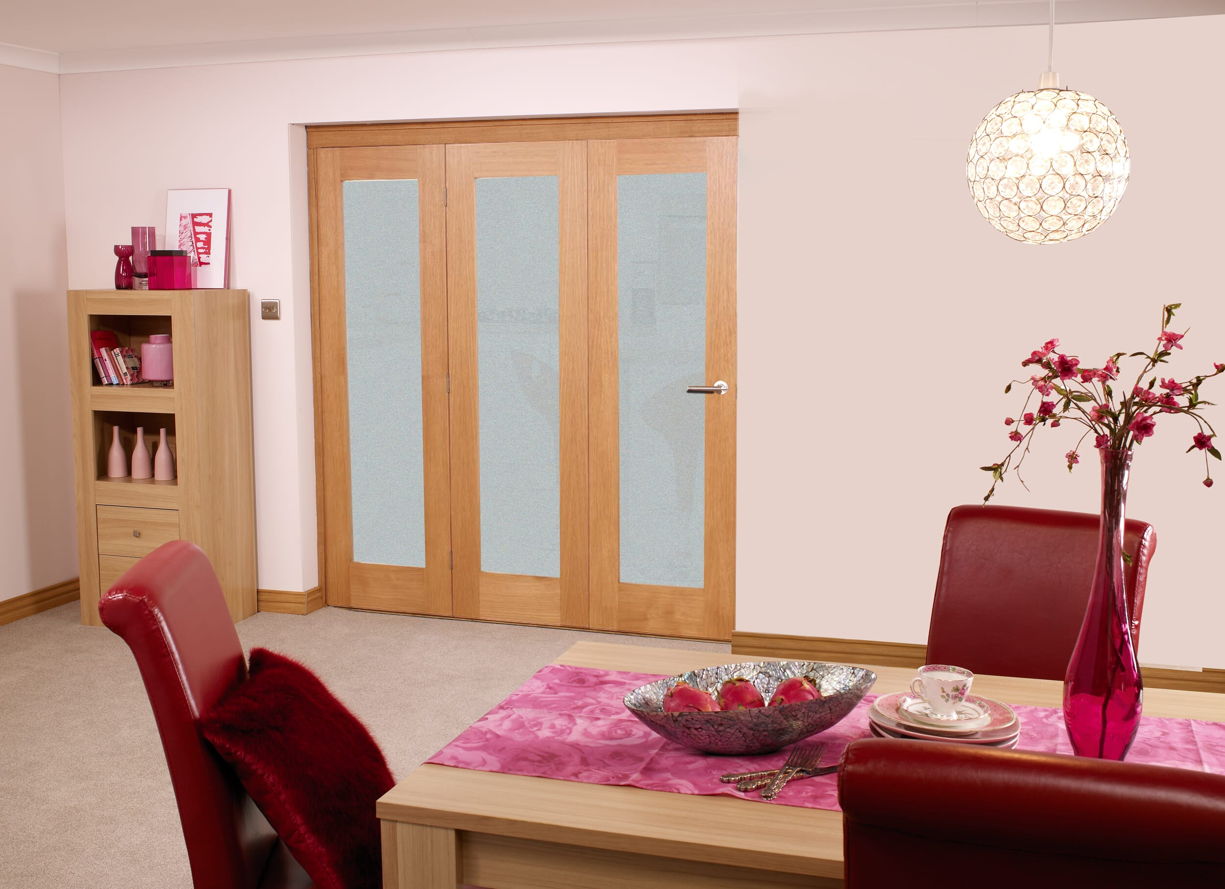 Glazed Oak Roomfold - Prefinished Frosted Glass Image