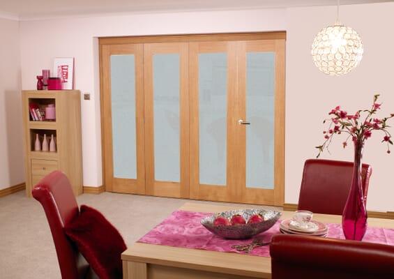 Frosted Glazed Prefinished Oak - 4 Door Roomfold (4 x 2'3