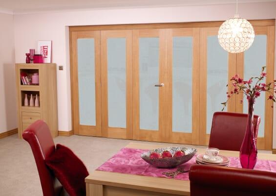 Frosted Glazed Prefinished Oak - 6 Door Roomfold (3 + 3 x 2'0