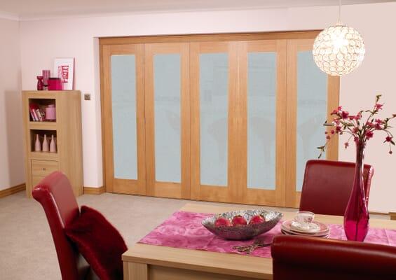 Frosted Glazed Prefinished Oak - 5 Door Roomfold (5 x 2'0