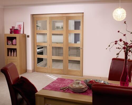 Oak 4l Shaker Roomfold - Prefinished Internal Bifold Doors