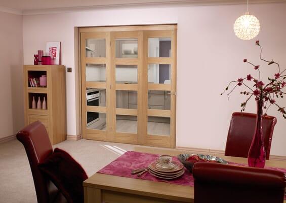 Prefinished Oak 4 Light 3 Door Roomfold (3 x 2'3