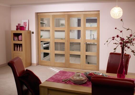 Prefinished Oak 4 Light 4 Door Roomfold (4 x 2'3